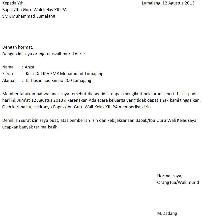 Surat Izin Tidak Masuk Sekolah Karena Keperluan Keluarga