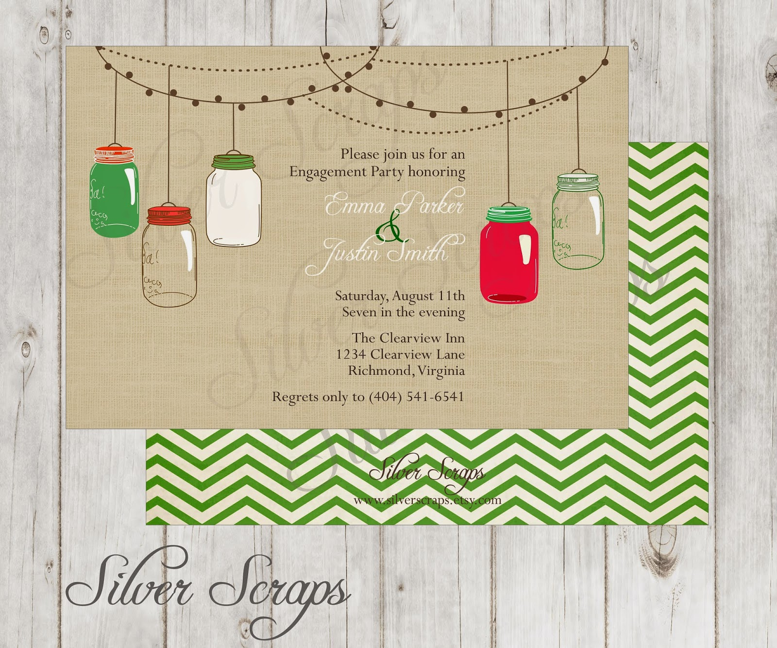 Vintage Hanging Christmas Mason Jars - Custom Holiday Rehearsal Dinner, Wedding, Bridal, Baby Shower, or Engagement Party Invitation - Green red linen burlap rustic barn hanging string lights floral flowers