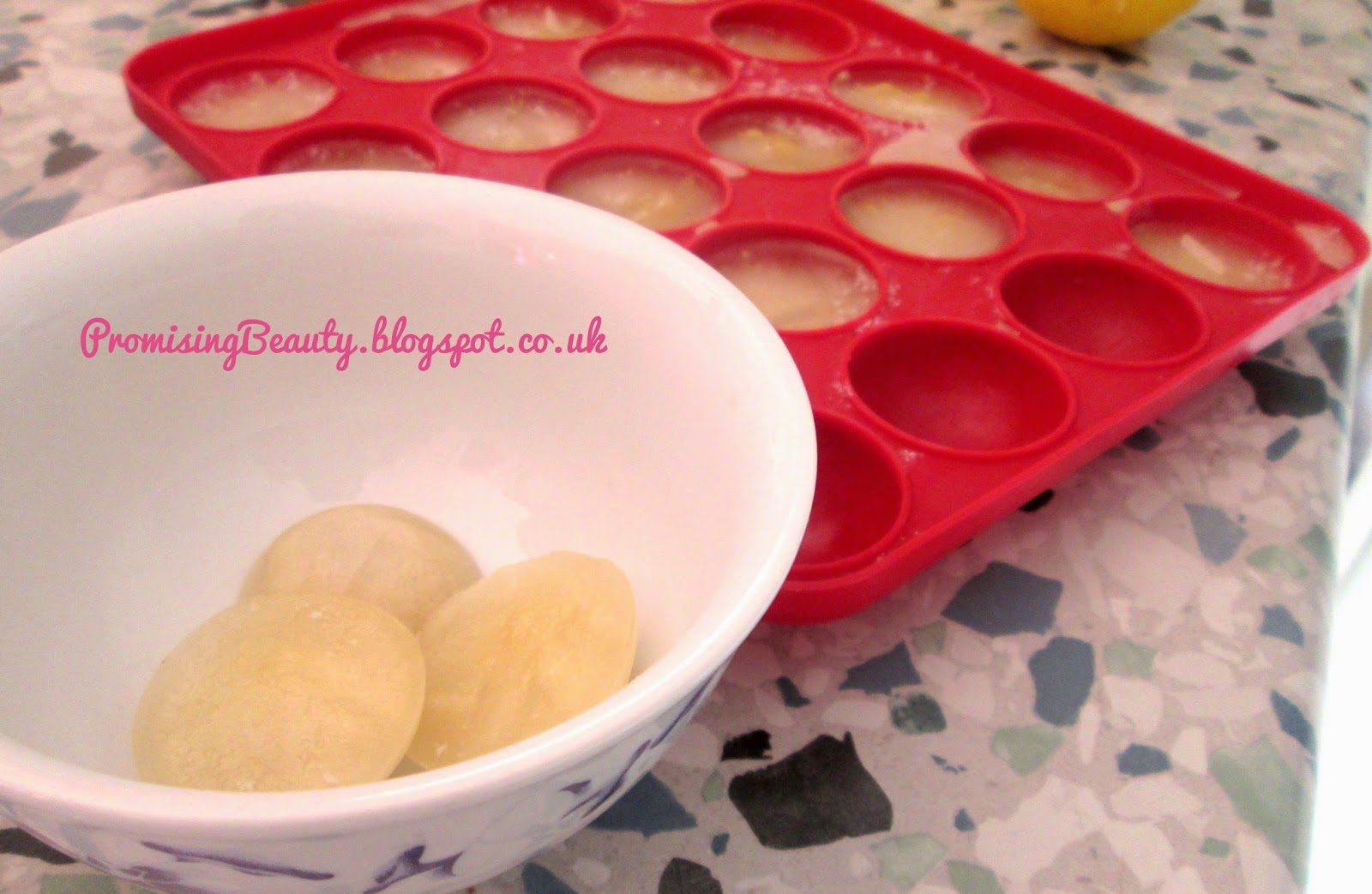 frozen itchy leg remedy in a cake pop tray. DIY beauty for after shave sensitive skin.