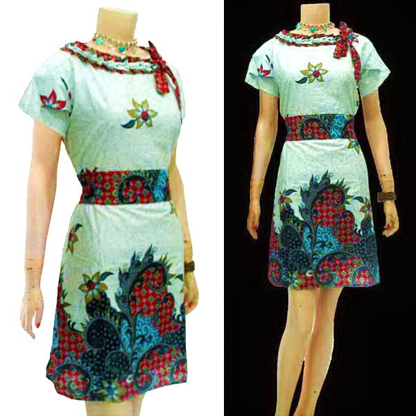 DB3628 Mode Baju Dress Batik Modern Terbaru 2014
