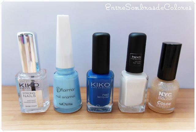 esmaltes manicura tonos azules