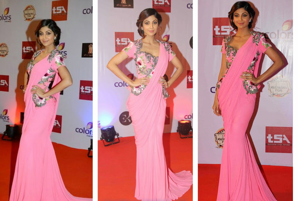 Actress Shilpa Shetty in Pink Plain Saree Gown at Television Style Awards 2015