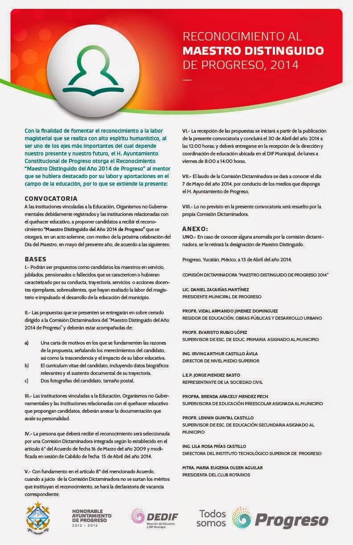 Noticias progreso abril 2014 for Convocatoria de maestros