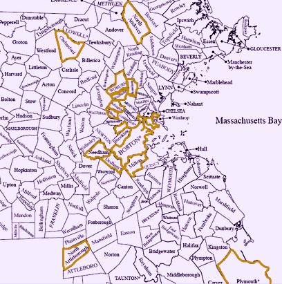 Map of eastern machusetts Map Of Machusetts Cities And Towns on