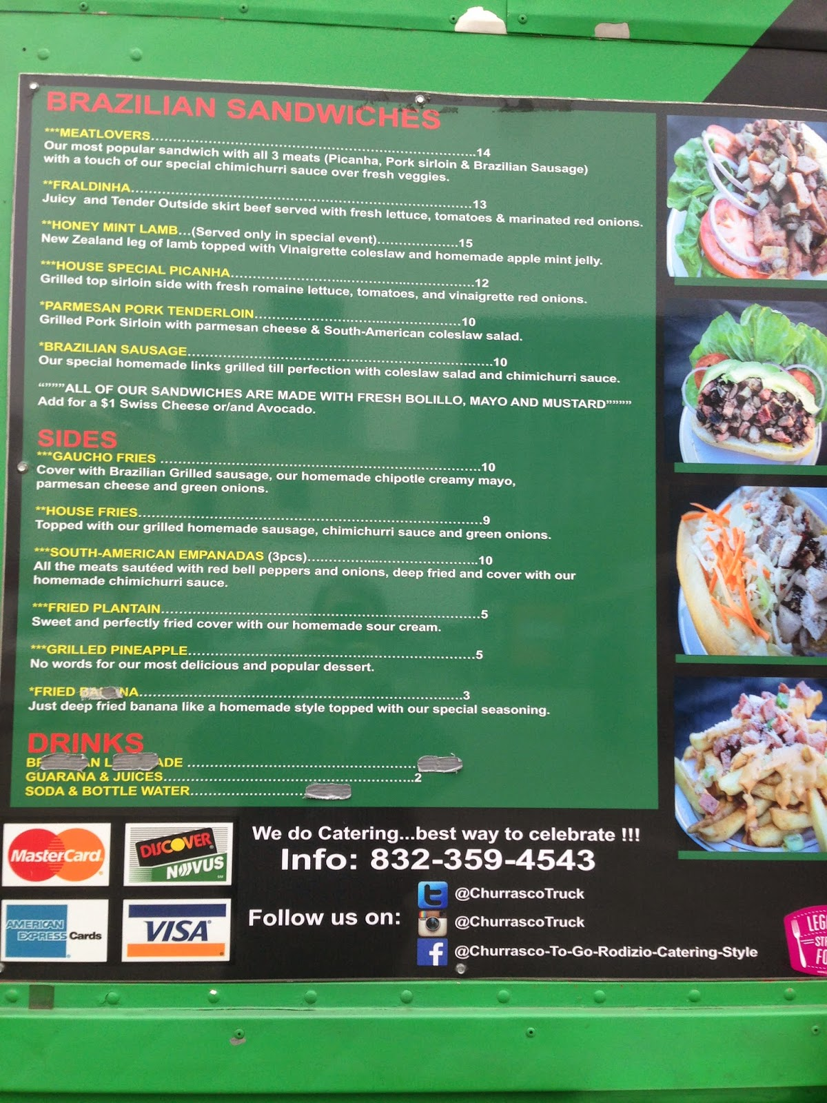 Churrasco Truck Menu