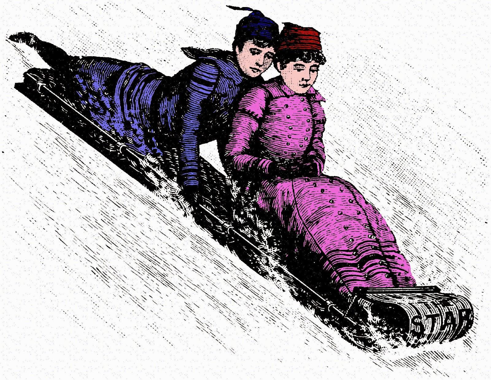 toboggan, sports d'hiver, plein-air, Canada, Amérindiens, Algonquin