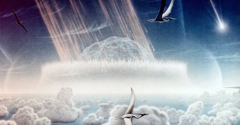 An artist's impression of the Chicxulub asteroid impacting the Yucatan Peninsula as pterodactyls fly in the sky above. Painting by Donald E. Davis.