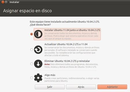 asignar disco particion instalacion ubuntu 11.04