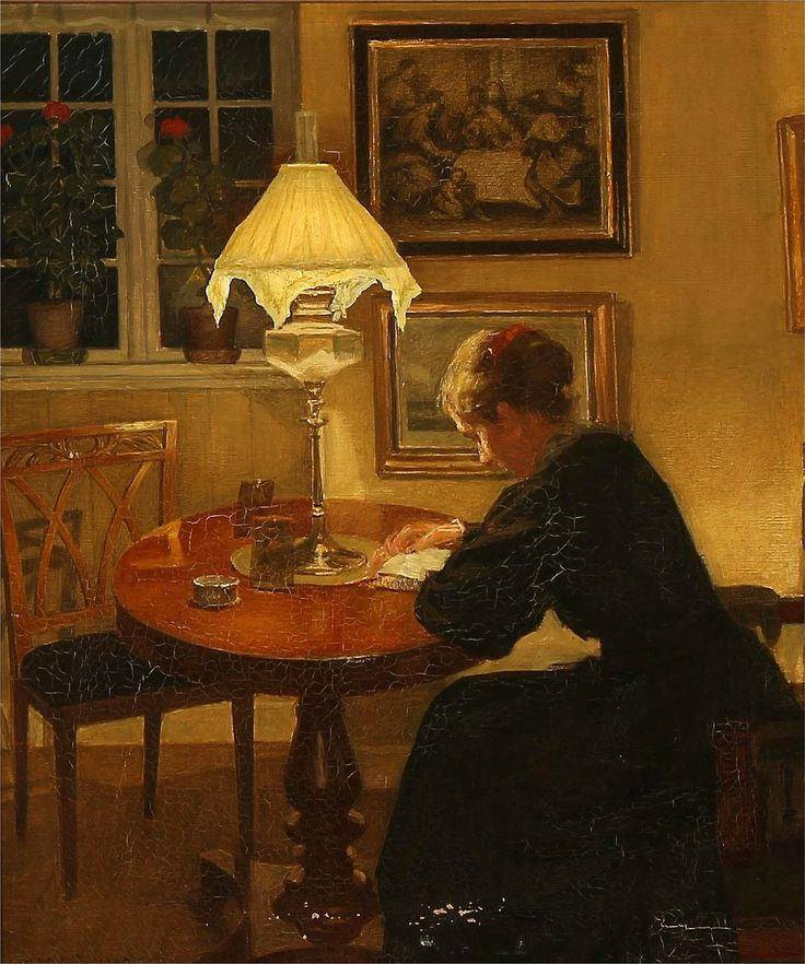 Niels Holsoe. Reading by Lamplight, 1907