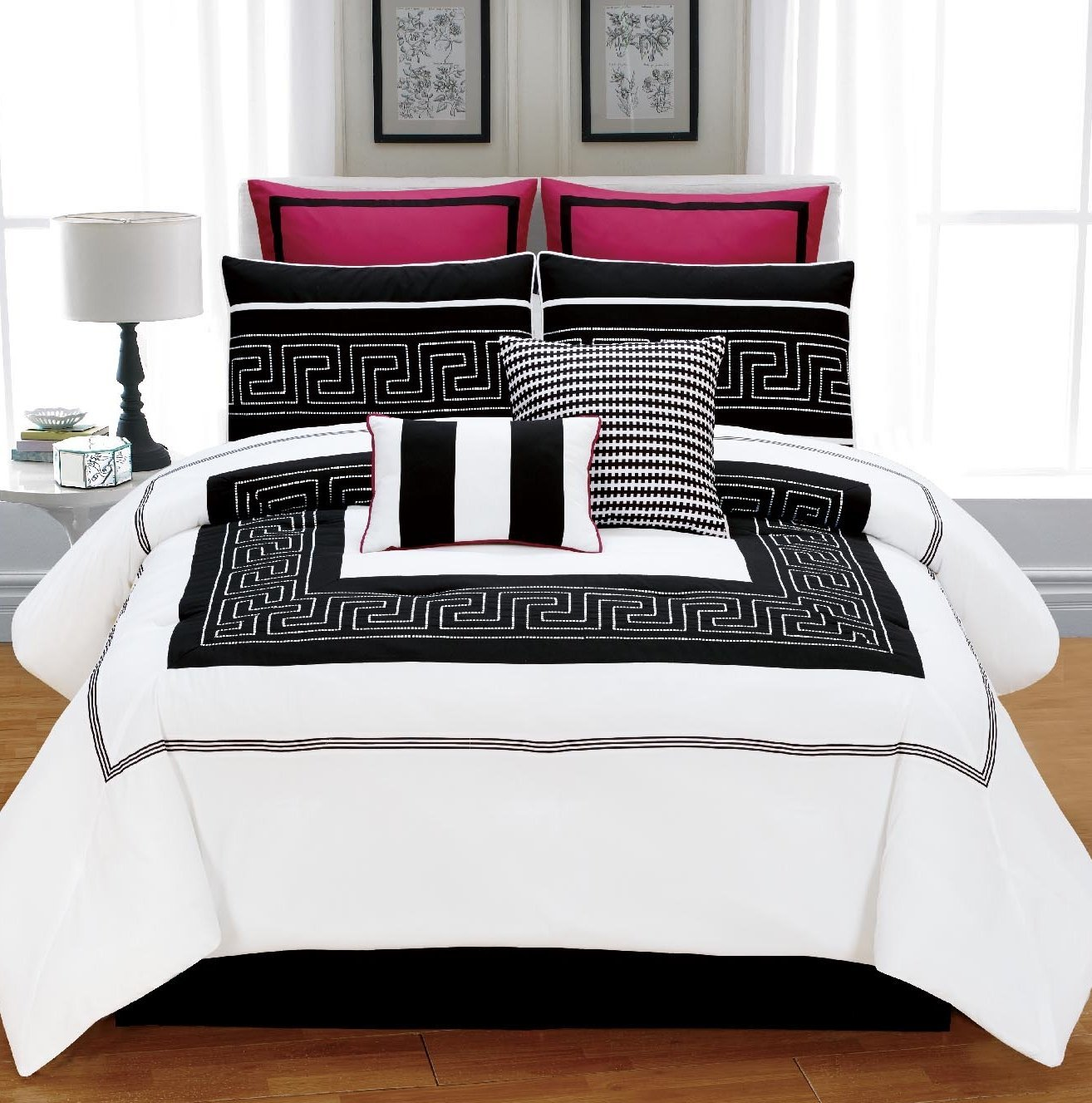 White and red bed sheets - White Black And Red Bedding 8 Pc Queen Comforter Pillow Bed Set