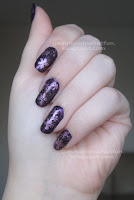 Purple and pink floral manicure