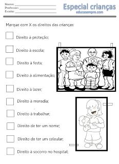 atividade crianças