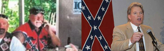 Ohio police chief Robect Hickman (left) sats his Confederate vest is not racist. But his like never explain why the Confederate flag is so popular among white supremacists and ex-KKK leaders like David Duke (right).