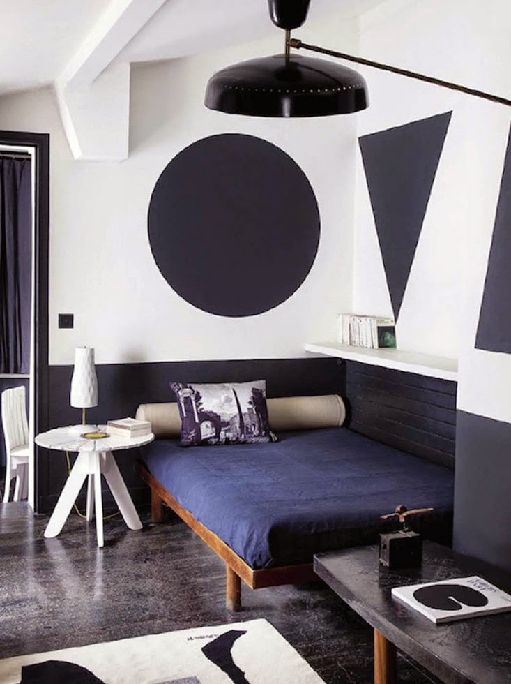 black and white geometric shape on the wall