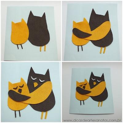 Cartões para o dia das mães de feltro com corujas