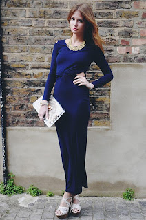 Back Detail, Royal Blue, Cut Out Detail, Dress, Long Sleeve, Made In Chelsea, MIC, Millie Mackintosh, Maxi Dress, Glamorous, Shoulder Detail, Zip Detail, Style Blog, Fitted Waist, Bodycon