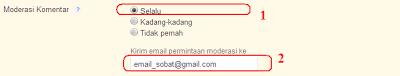 Cara memoderasikan komentar di blogspot