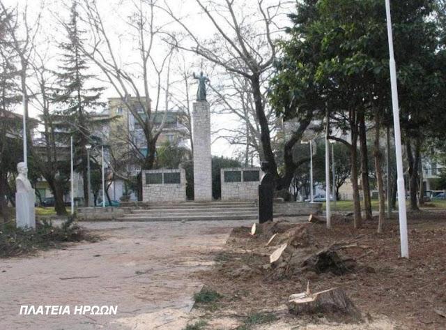 Ρημάξανε τα δέντρα και στην πλατεία Ηρώων