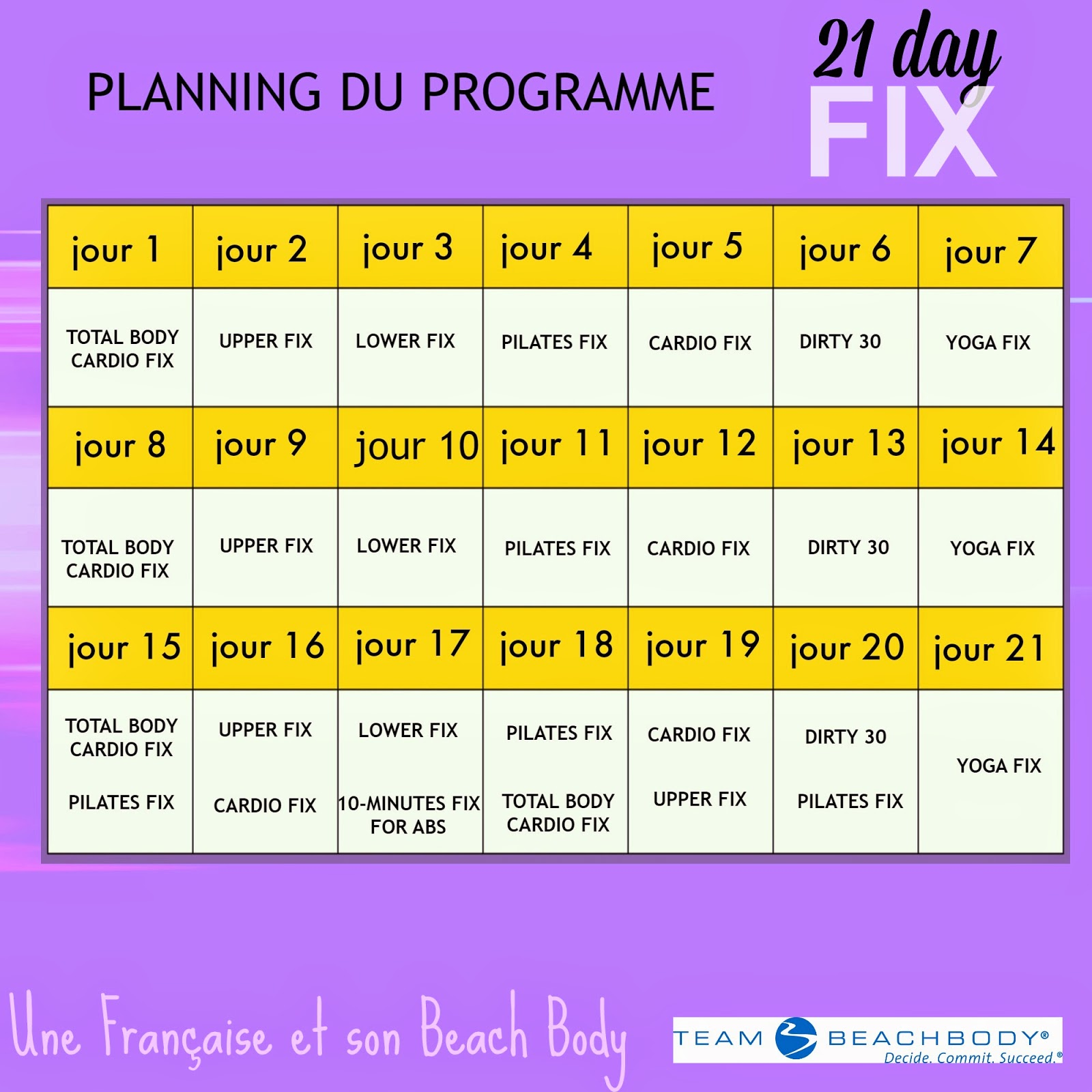 calendrier de 21 Day Fix
