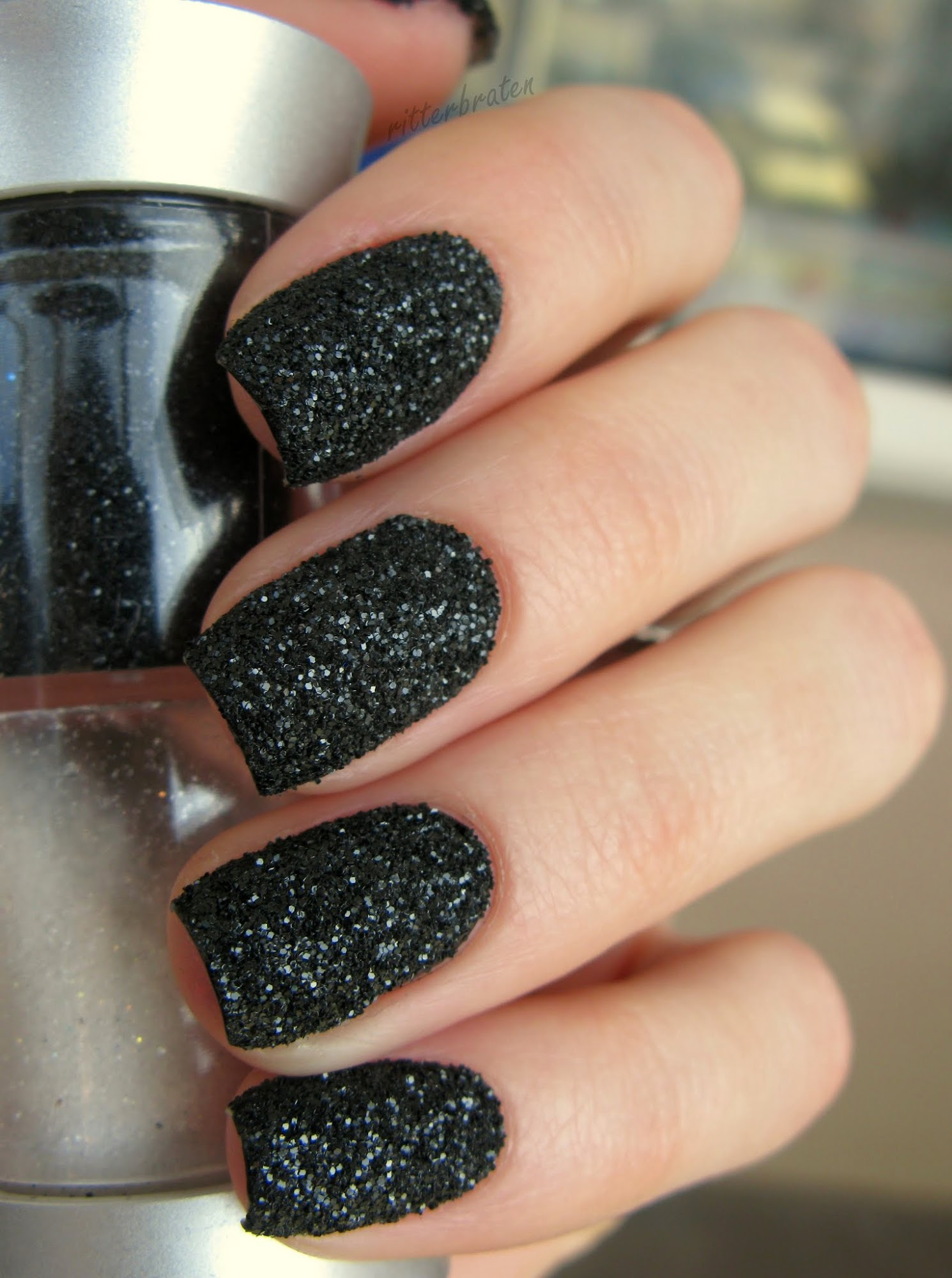 DIY Black Sand Nails