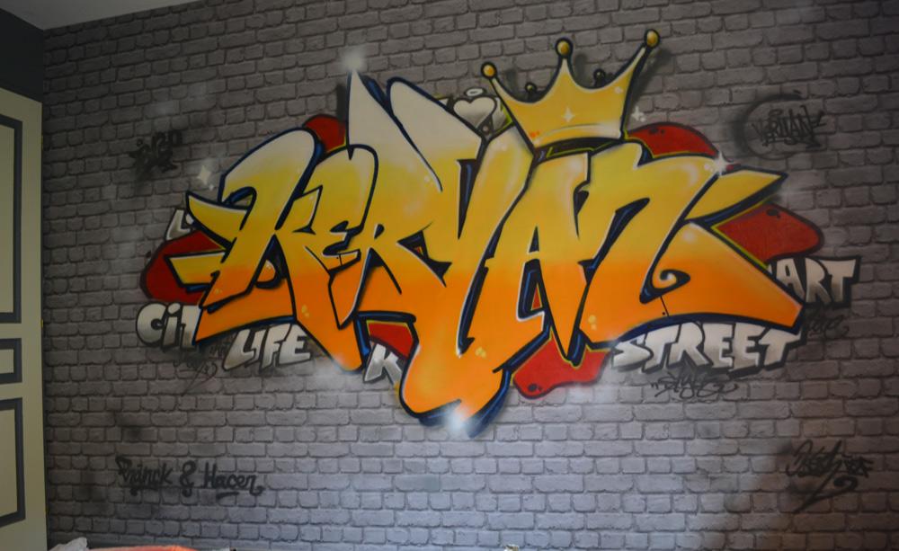 graffiti chambre d 39 enfant en suisse et france la chambre de keryan en france. Black Bedroom Furniture Sets. Home Design Ideas