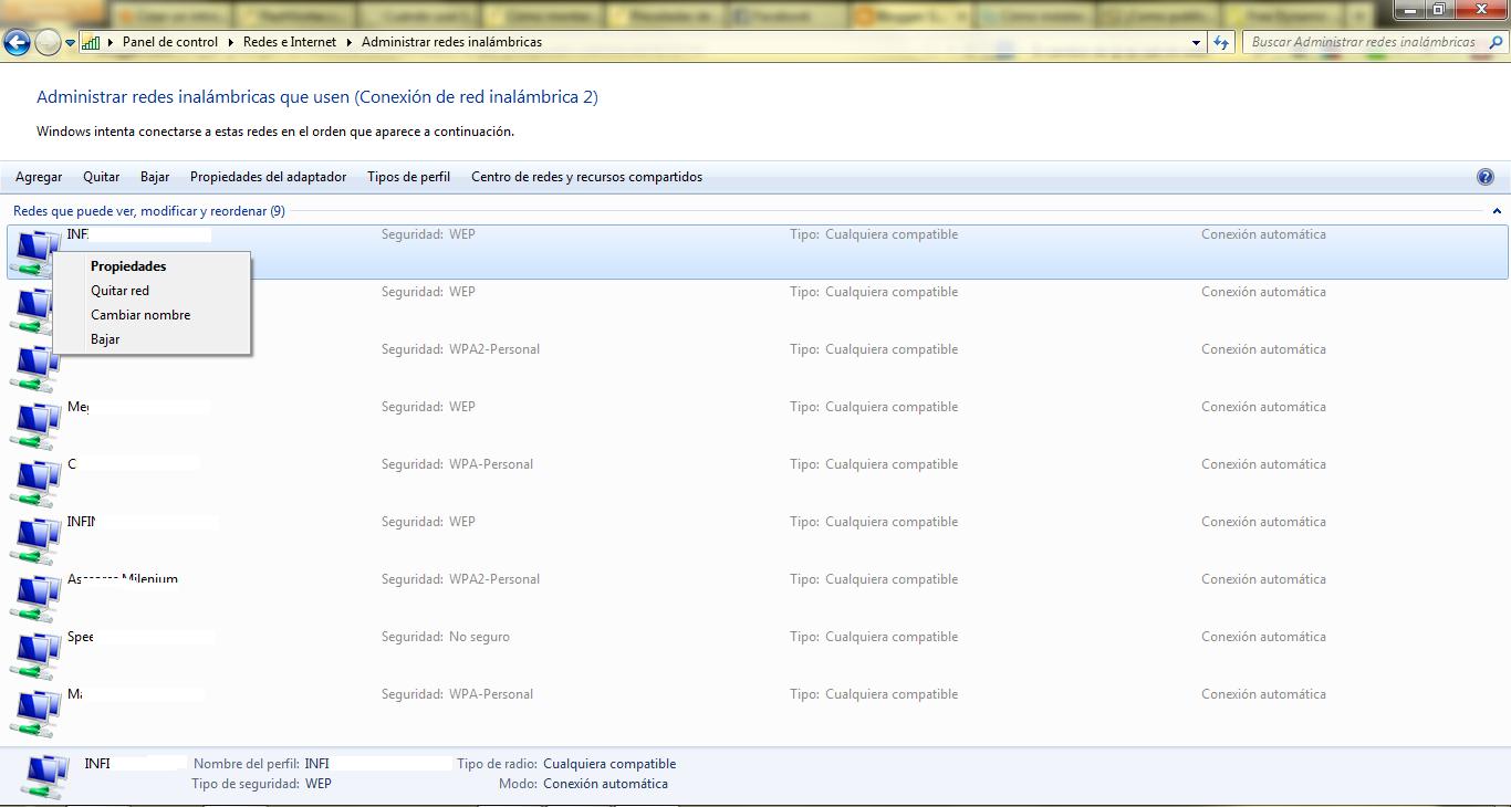 Eliminar perfiles WiFi en Windows 7 y/o Windows 8