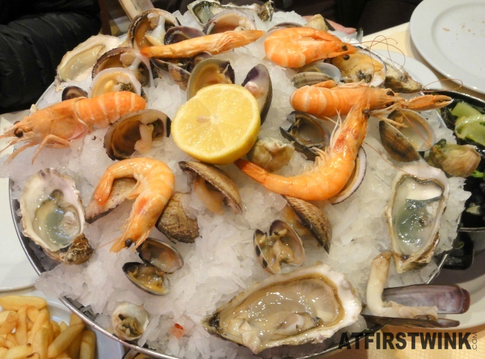 late lunch at a restaurant in the Beenhouwersstraat, Brussels: seafood platter