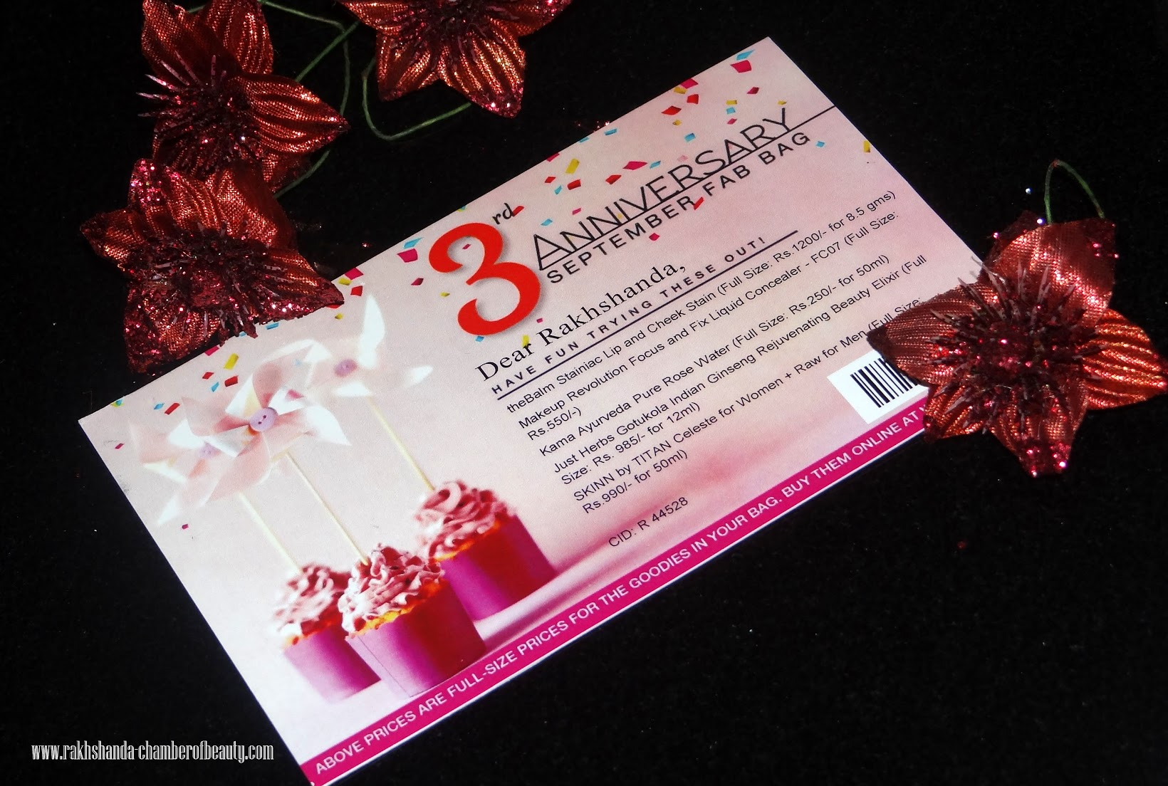 Fab Bag September 2015 (3rd Anniversary Special)- review, swatches, photos, Indian Beauty blogger, Chamber of Beauty