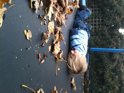 dozing toddler on trampoline