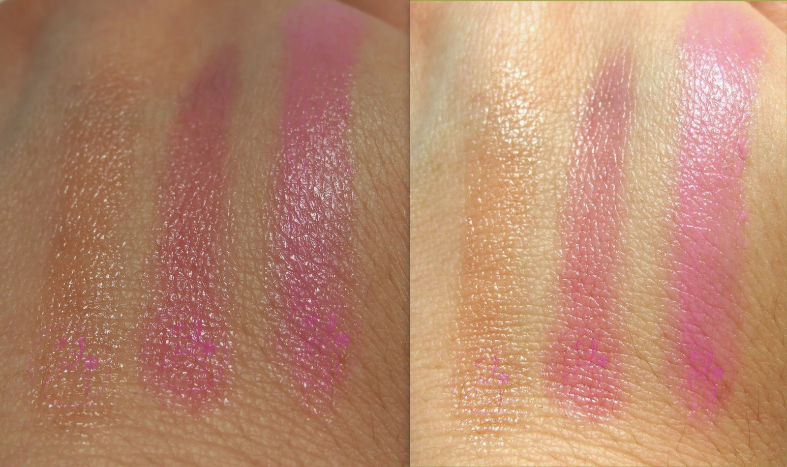 Maybelline - Baby Lips n° 04, 05, 06 - swatches (ombra - luce)