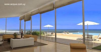 Imagen del renderizado del proyecto Edificio Acqua en Punta del Este vista desde el interior de un apartamento