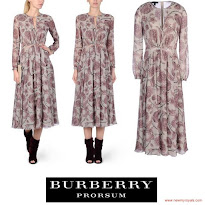 Princess Mary Style Burberry Prorsum Floral Silk-Georgette Dress