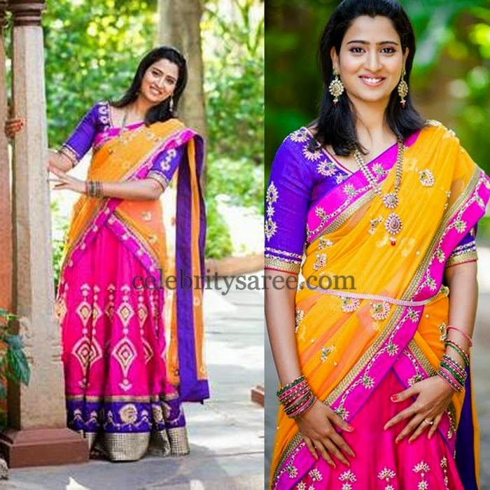 Pink and Mustard Half Saree