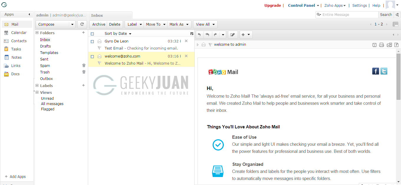 How to Get Own Email for Blogger Hosted Blogs - Geeky Juan via Zoho Mail