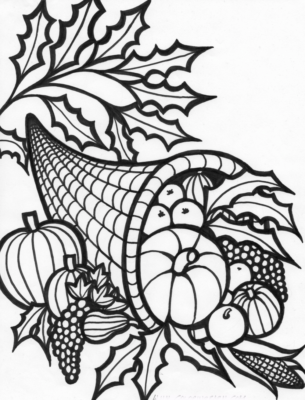 Free Coloring Pages Thanksgiving Cornucopia Coloring Pages Cornucopia Printable Coloring Pages