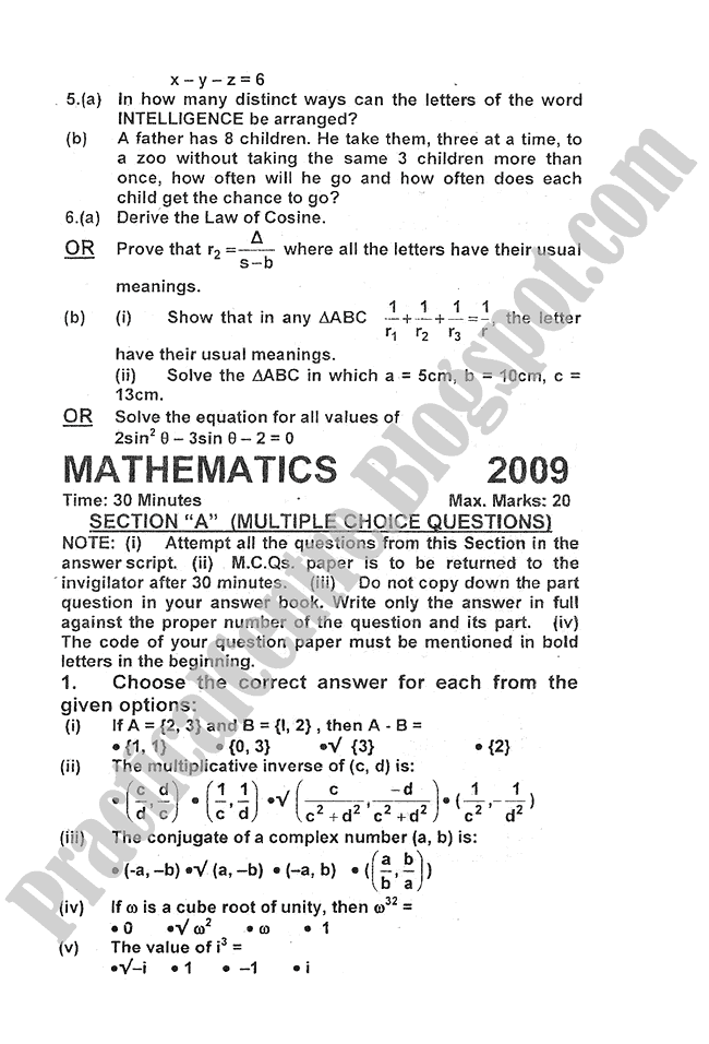 Mathematics-2010-five-year-paper-class-XI