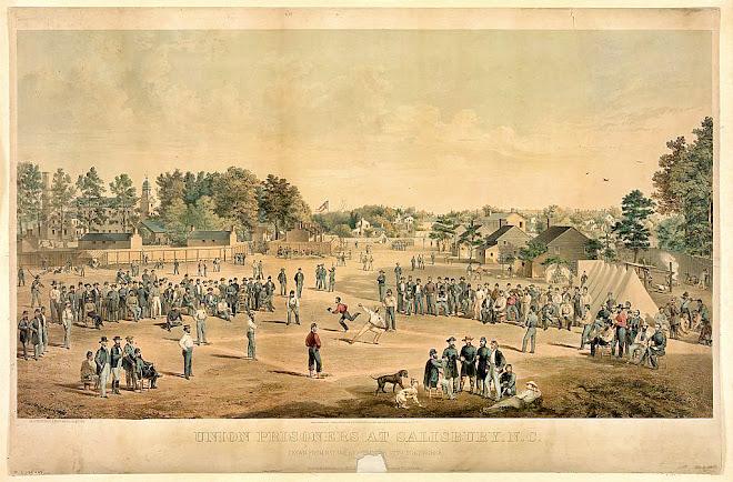 Union prisoners playing baseball