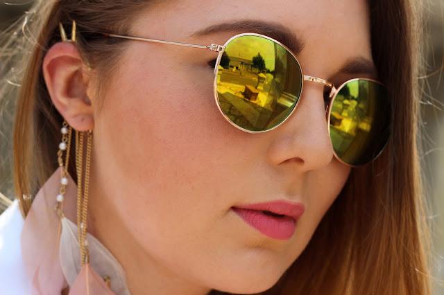 six, I am, Sonnenbrille, gelbe Gläser, verspiegelt,  ear cuff, federn boho, , hamburg, fashionblogger,