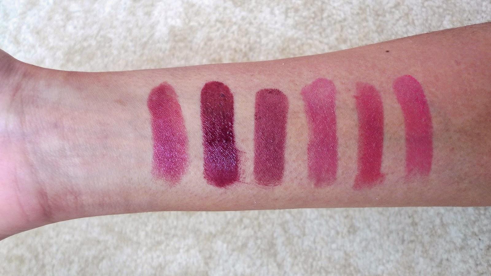 vintage lipstick swatches: Milani, rimmel, l'oreal, avon, pink, revlon lip butter