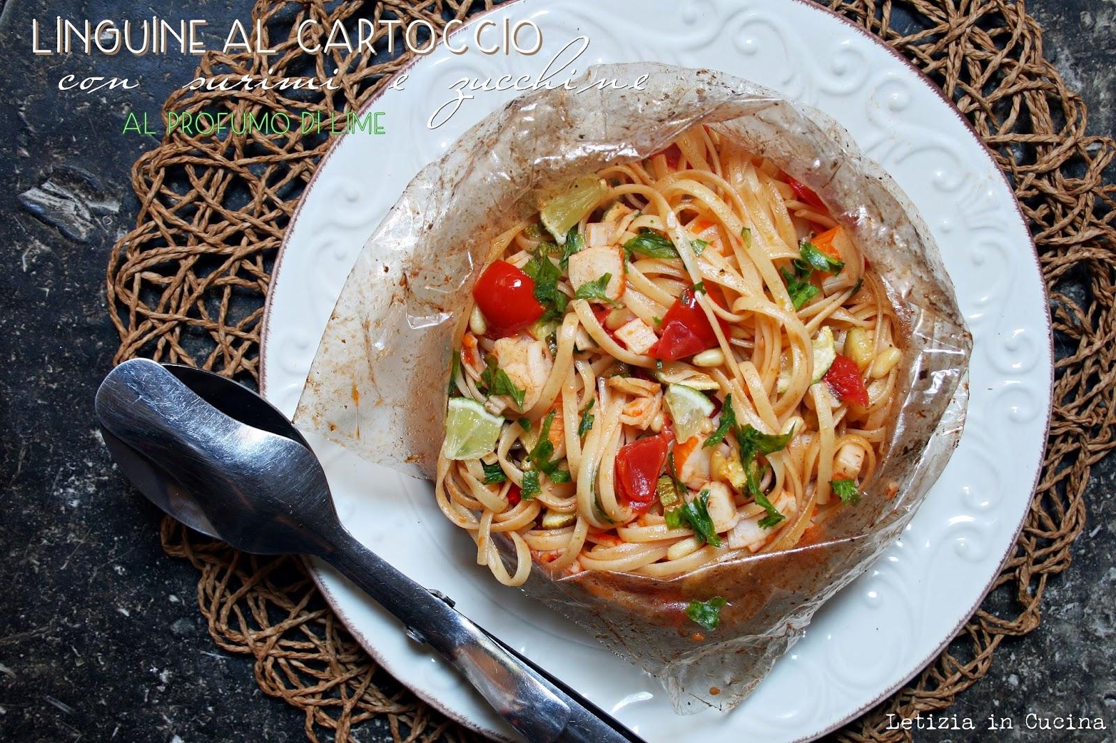 Letizia in Cucina: Linguine al cartoccio con surimi, zucchine e al ...