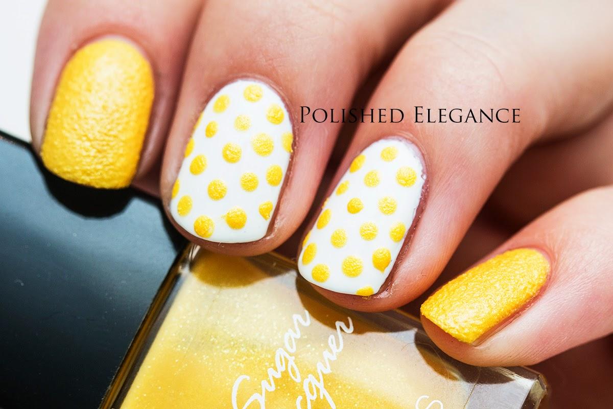 31DC2014 yellow nails nail art manicure yellow dotticure polka dots