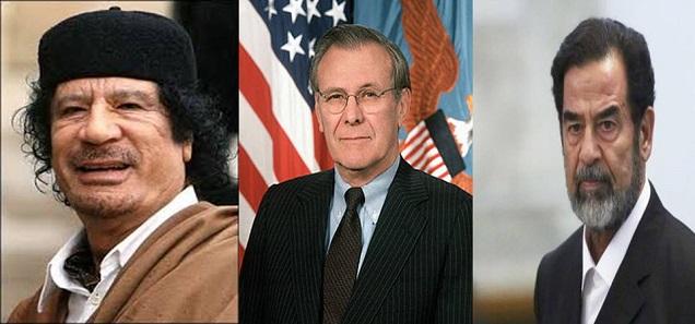 رامسفيلد يفجر مفاجأة بخصوص صدام حسين و القذافي