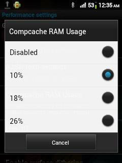 Menambah RAM di Android Dengan ZRam, Compcache used, ZRam space