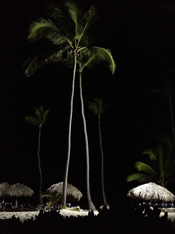 resort beach at night, dominican republic