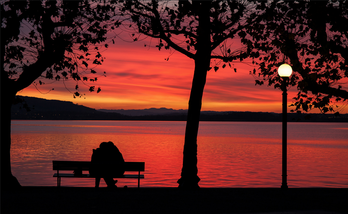 Romantic Sunset at Lake Zug, Switzerland