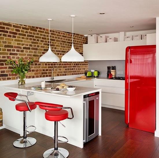 Modelos de cocinas peque as con mesones imagui - Cocinas rojas y blancas ...