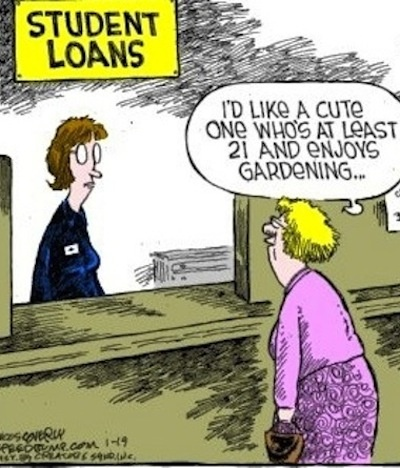 Old Woman Student Loan Cartoon Funny Joke Pictures