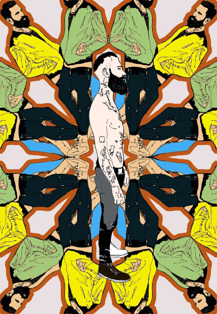Tattooed man with beard surrounded by himself in a pattern