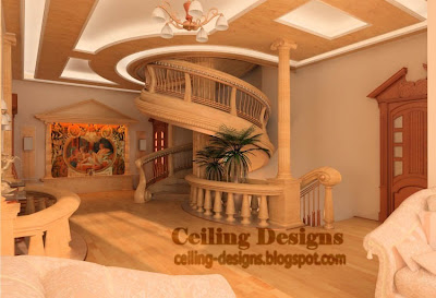 fall ceiling designs from gypsum and wood for living room