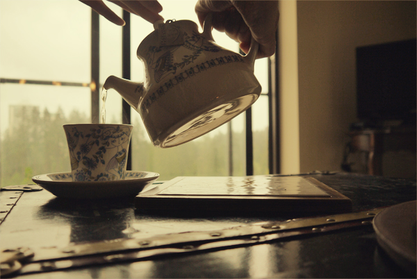 pouring a cup of tea